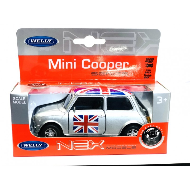 Classic Style Silver Mini Cooper Union Jack Rooftop Die-cast Pull Back and Go Action Toy