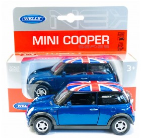 Blue Mini Cooper New Union Jack Rooftop Die-cast Pull Back and Go Action Toy