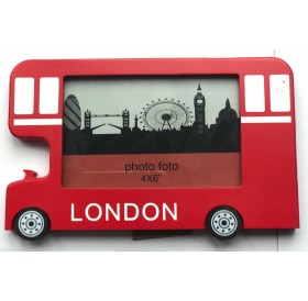 Photo Frame London England Red Bus Desktop Shelf Picture Souvenir Gift 4 x 6 Inch