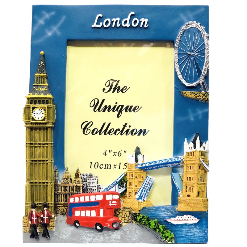 "London Souvenir Photo Frame 4x6"" Big Ben Red Bus Tower Bridge London Eye Picture Holder"