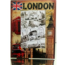 Vintage London Big Ben Parliament Glass Photo Frame UJ Tel Bus Picture Frame 10 X 15 CM