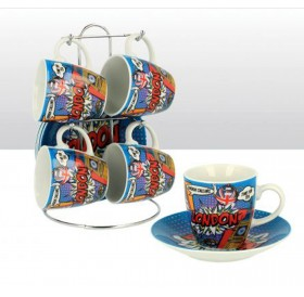 Cup Saucer Set of 4 London Pop Art Mini Espresso Coffee Cup with Metal Stand