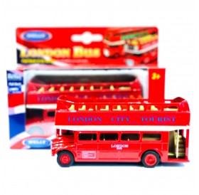 London City Tourist Double Decker Open Top Die-cast Red Bus Pull Back Go Action