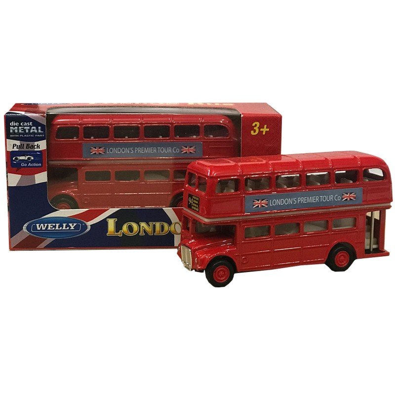 London Double Decker Red Friction Bus Model Die Cast Metal Pull Back Go Action Toy
