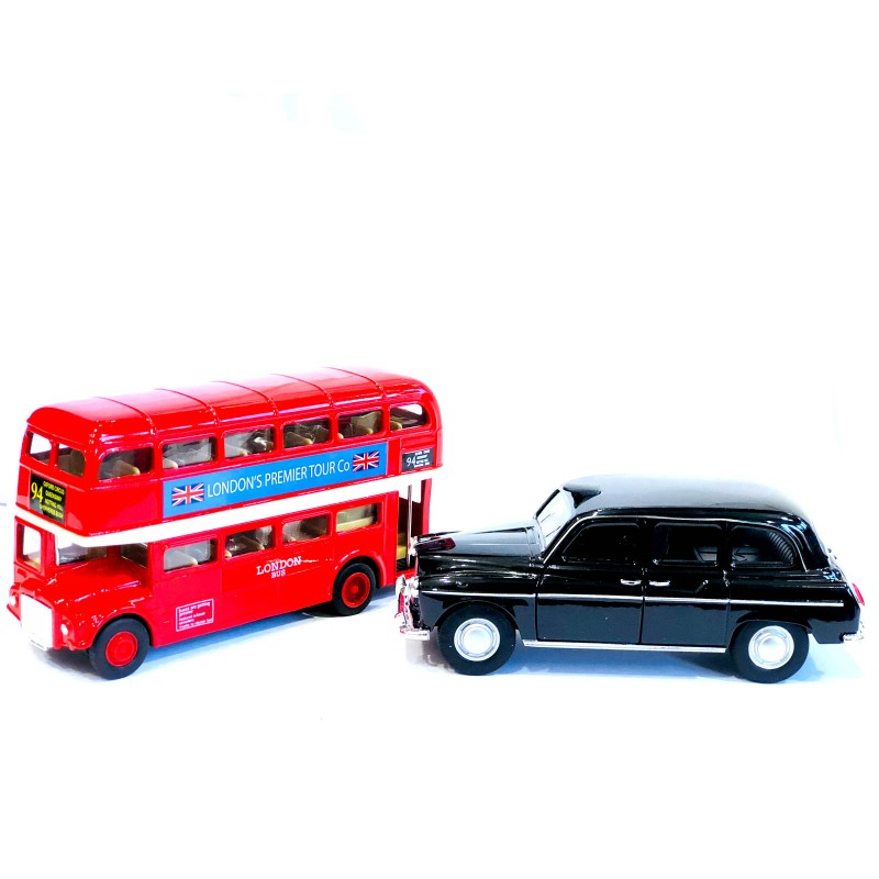 London Bus & Taxi Die Cast Metal Toys Pull Back & Go Action Souvenir Toys