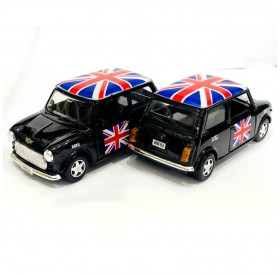 Classic Style Black Mini Cooper Union Jack Rooftop Die-cast Pull Back and Go Action Toy