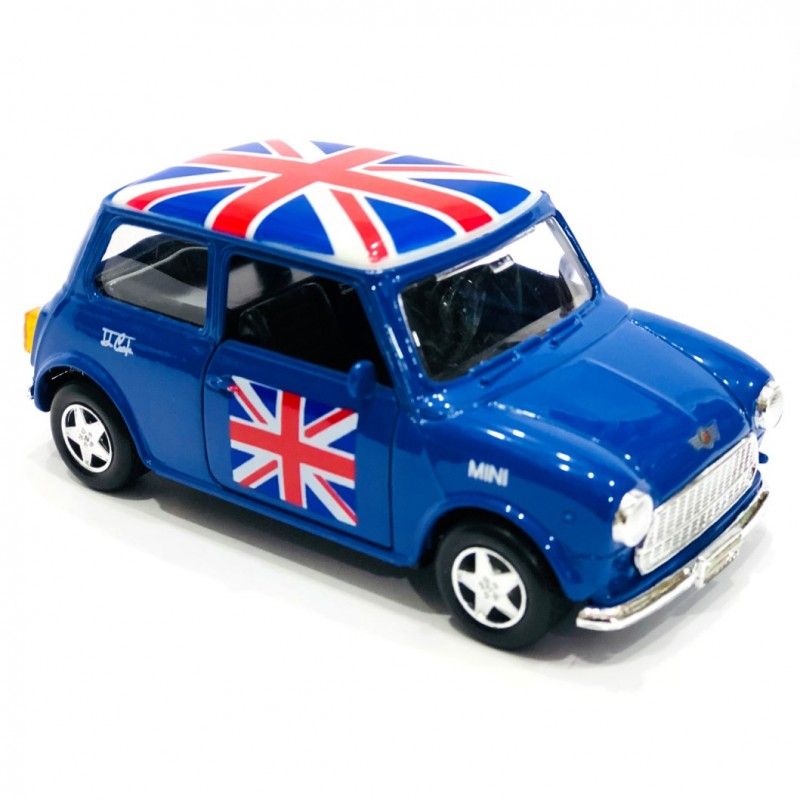 Classic Style Blue Mini Cooper Union Jack Rooftop Die-cast Pull Back and Go Action Toy