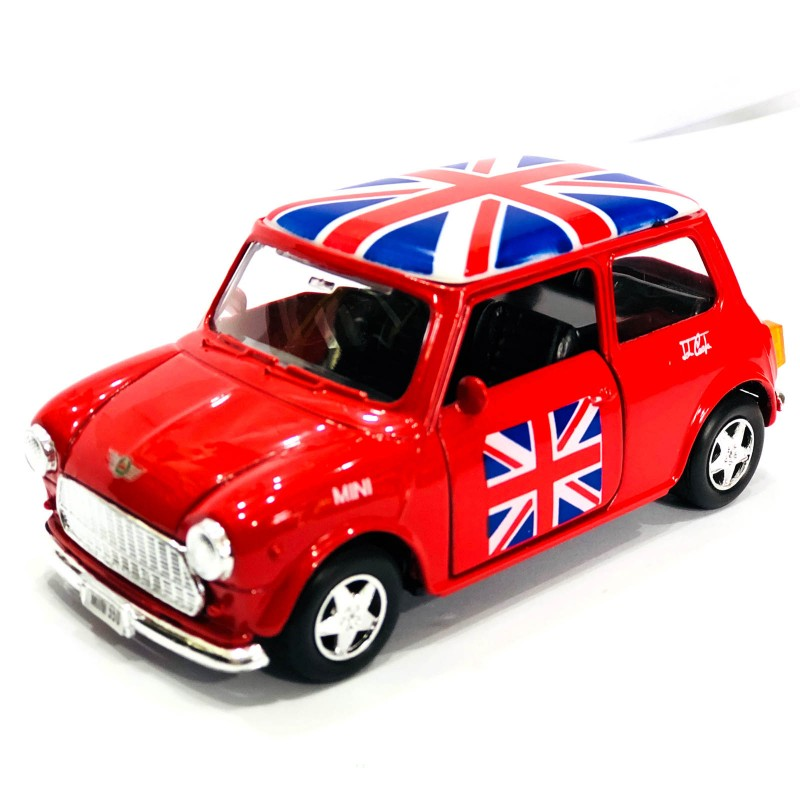 Classic Style Red Mini Cooper Union Jack Rooftop Die-cast Pull Back and Go Action Toy
