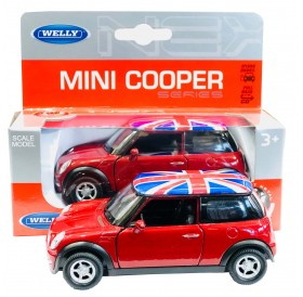 Red Mini Cooper Die Cast Pull Back Go Action Hatch Car Toy