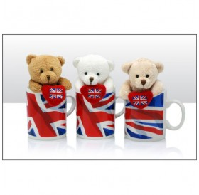 Bears with Heart in Union Jack Mugs