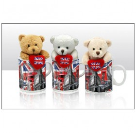 Capital London Bear with Union Jack Heart Soft Toys in Mugs