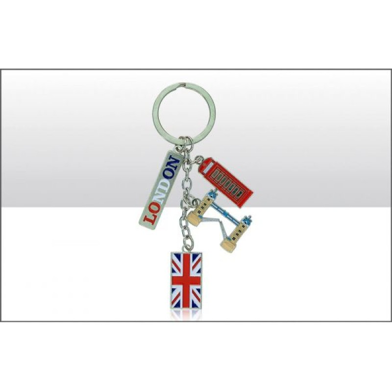 London Tower Bridge Union Jack Phone Box Charm Keyrings