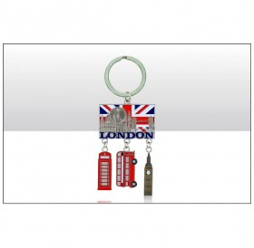 London Montage Phone Box Bus Big Ben Keyrings