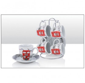 Sketchy London Bus Cup & Saucer Set of 4