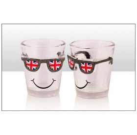 Union Jack Glitter Sunglasses Shot Glass